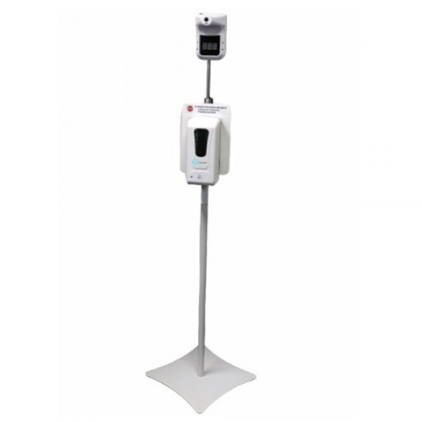 Contactless Temperature Check and Sanitizing Station. Includes